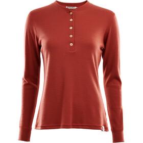 Aclima WarmWool Granddad Shirt Dame red ochre